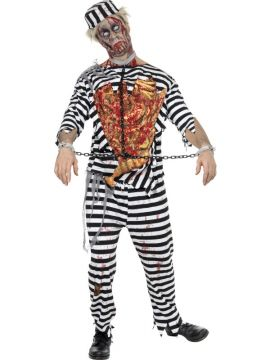 Zombie Convict For Sale - Zombie Convict Costume, Trousers, Shirt, Latex Chest, Hat & Chain Links. | The Costume Corner Fancy Dress Super Store