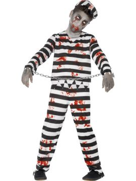Zombie Convict Costume For Sale - This flesh-eating jailbird is guaranteed to scare all their mates! The Zombie Convict Costume is complete with top, trousers, hat and wrist cuffs, finish the look with some Smi... | The Costume Corner Fancy Dress Super Store