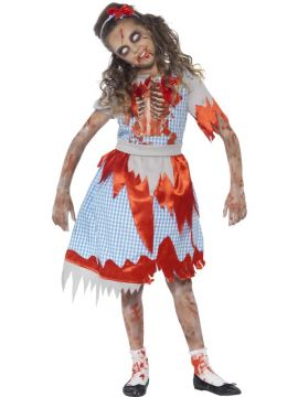 Zombie Country Girl For Sale - Dress with chest print detail & headpiece | The Costume Corner Fancy Dress Super Store
