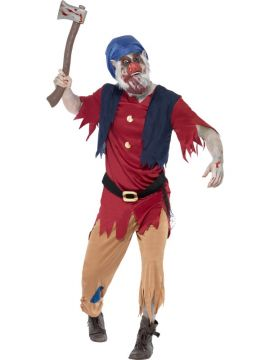 Zombie Dwarf Costume For Sale - Zombie Dwarf Costume, with Top, Attached Waistcoat, Trousers and Mask, in Display Bag | The Costume Corner Fancy Dress Super Store