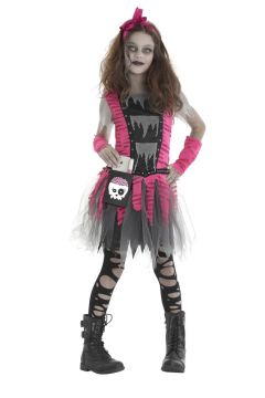 Zombie Girl For Sale - Dress with purse, arm warmers & matching hair bow | The Costume Corner Fancy Dress Super Store