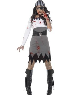 Zombie Pirate Lady For Sale - Contains Dress, Headscarf & Eyepatch | The Costume Corner Fancy Dress Super Store