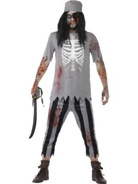 Zombie Pirate Mens Costume For Sale - Includes Top, Trousers, Bandana & Eyepatch | The Costume Corner Fancy Dress Super Store