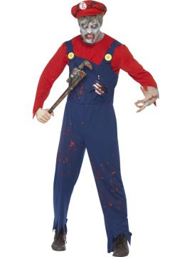 Zombie Plumber Costume For Sale - Zombie Plumber Costume, Red, with Top, Dungarees with Latex Ribcage and Hat, in Display Bag | The Costume Corner Fancy Dress Super Store