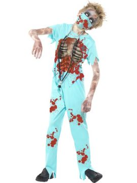 Zombie Surgeon Costume For Sale - Zombie Surgeon Costume, Blue, Bloodied Trousers, Printed Top, Mask & Stethoscope, in Display Bag | The Costume Corner Fancy Dress Super Store